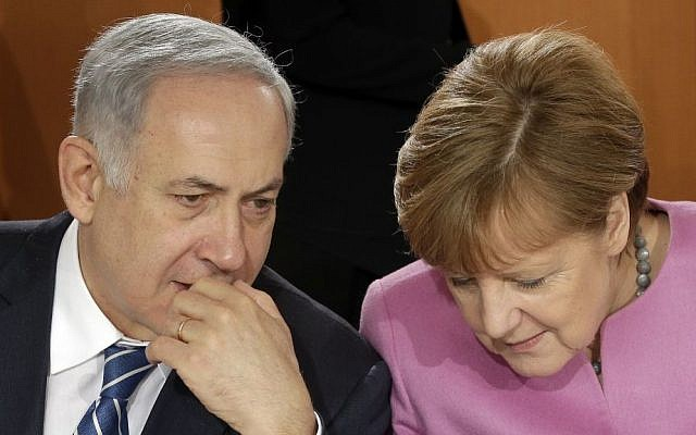 German Chancellor Angela Merke and the Prime Minister of Israel, Benjamin Netanyahu talk prior to a lunch as part of a one day governmental meeting at the chancellery in Berlin, Germany, Tuesday, Feb. 16, 2016. (AP Photo/Michael Sohn, Pool)
