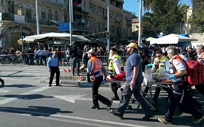 Police and medics at the scene of a shooting attack outside the Damascus Gate of Jerusalem's Old City  on Wednesday, February 3, 2016 (Magen David Adom)