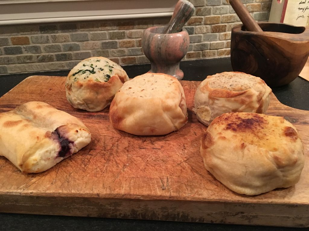 Five samples from the Yonah Schimmel's Knish Bakery. (Cathryn J. Prince/The Times of Israel)