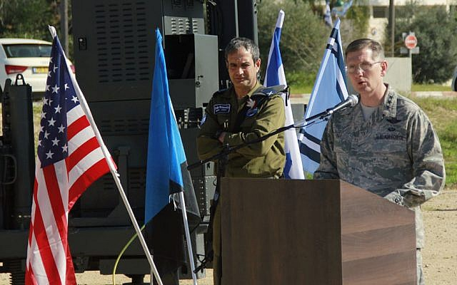 Lt.-Gen. Timothy Ray addresses reporters during a press conference as part of the Juniper Cobra exercise at the Hatzor Air Base in central Israel on February 25, 2016. (Judah Ari Gross/Times of Israel)