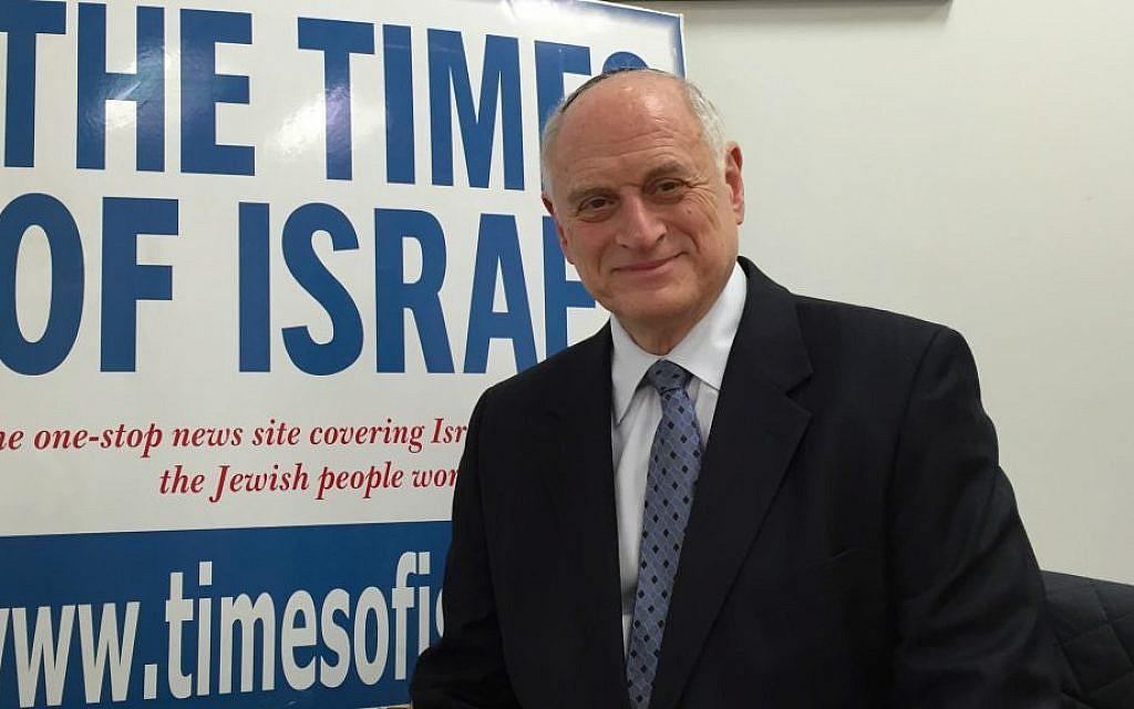 Malcolm Hoenlein, the executive vice chairman of the Conference of Presidents of Major American Jewish Organizations, at The Times of Israel's Jerusalem offices on February 2, 2016 (Amanda Borschel-Dan/The Times of Israel)
