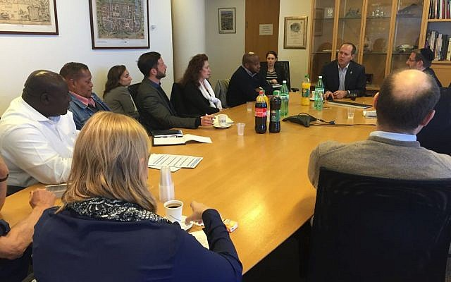 Members of a visiting South African group meet with Nir Barkat, Mayor of Jerusalem, at City Hall, February 2016. (Eliana Rudee)