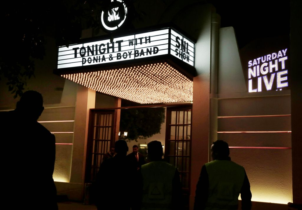 "In this Tuesday, Feb. 16, 2016 photo, people wait for this first ""Saturday Night Live Arabia,"" show to start in Cairo, Egypt. Saturday Night Live is coming this Saturday to the Middle East 'in Arabic' with fresh material written for the region's cultures and sense of humor. (AP Photo/Nariman El-Mofty)"