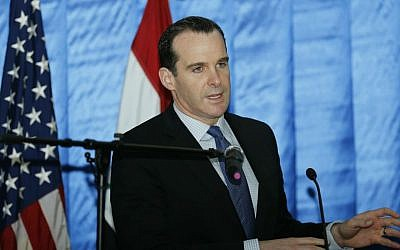 In this Dec. 9, 2015 file photo, President Barack Obama's envoy to the US-led coalition against the Islamic State, Brett McGurk, speaks to reporters during a news conference at the US Embassy in the heavily fortified Green Zone in Baghdad, Iraq. (Thaier Al-Sudani /Pool File Photo via AP)