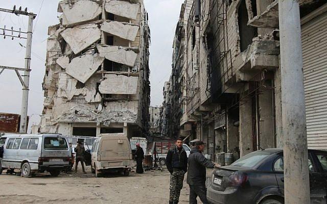 A building is seen with heavy damage in Aleppo, Syria, February 11, 2016. (Alexander Kots/Komsomolskaya Pravda via AP)