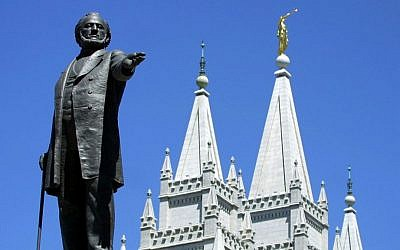 A statue of Brigham Young at the Mormon Temple in Salt Lake City, Utah. (George Frey/AFP/Getty Images/via JTA)