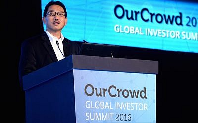 Nick Sugimoto at the OurCrowd conference, January 25, 2016 (Courtesy)