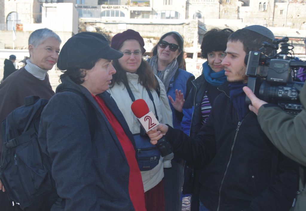 Cheryl Birkner Mack, far left, is interviewed after praying at the Western Wall with the 'Original' Women of the Wall on February 3, 2016. (©2016 Raya Meltz, morayaDESIGN)