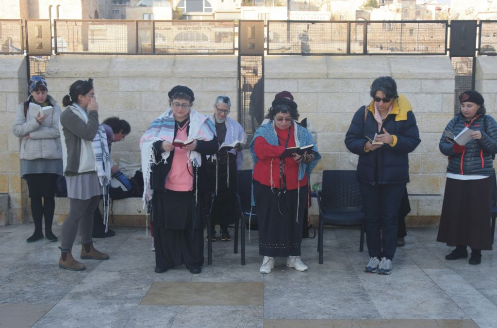 In a protest prayer session, members of the 'Original' Women of the Wall pray at the Western Wall on February 3, 2016. (©2016 Raya Meltz, morayaDESIGN)