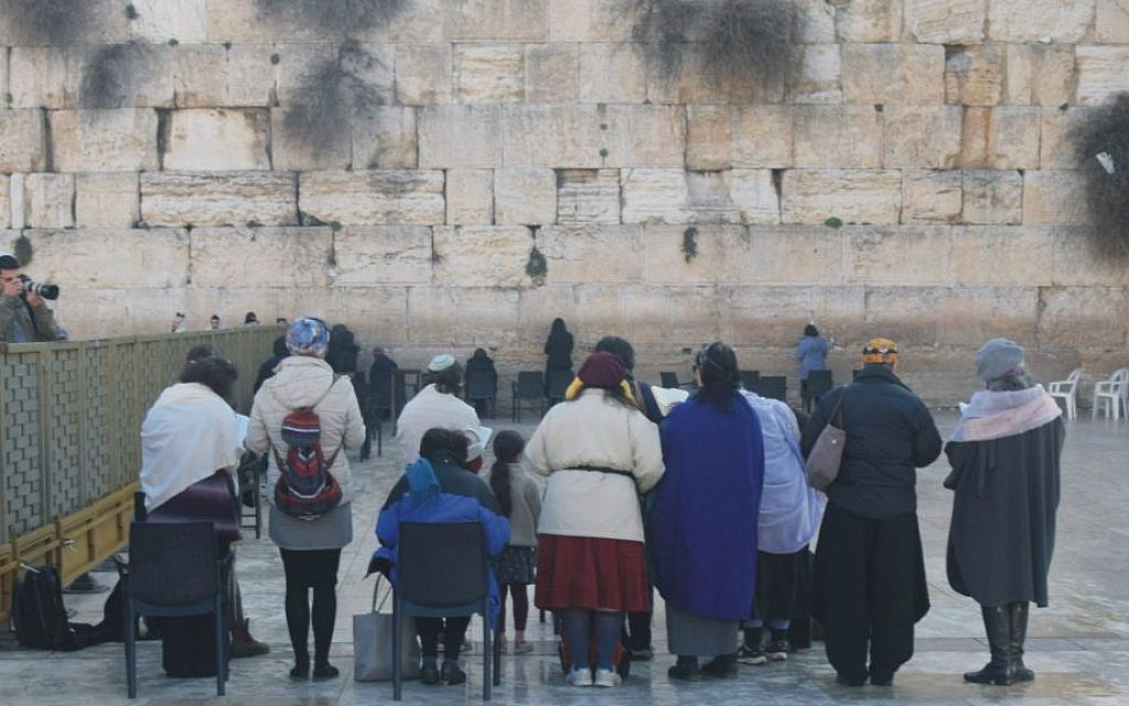 Members of the 'Original Women of the Wall' pray at the Western Wall on February 3, 2016. (©2016 Raya Meltz, morayaDESIGN)