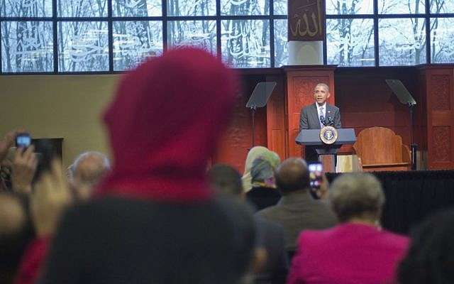 President Barack Obama speaks to members of the Muslim-American community at the Islamic Society of Baltimore, Wednesday, Feb. 3, 2016, in Baltimore (AP/Pablo Martinez Monsivais)