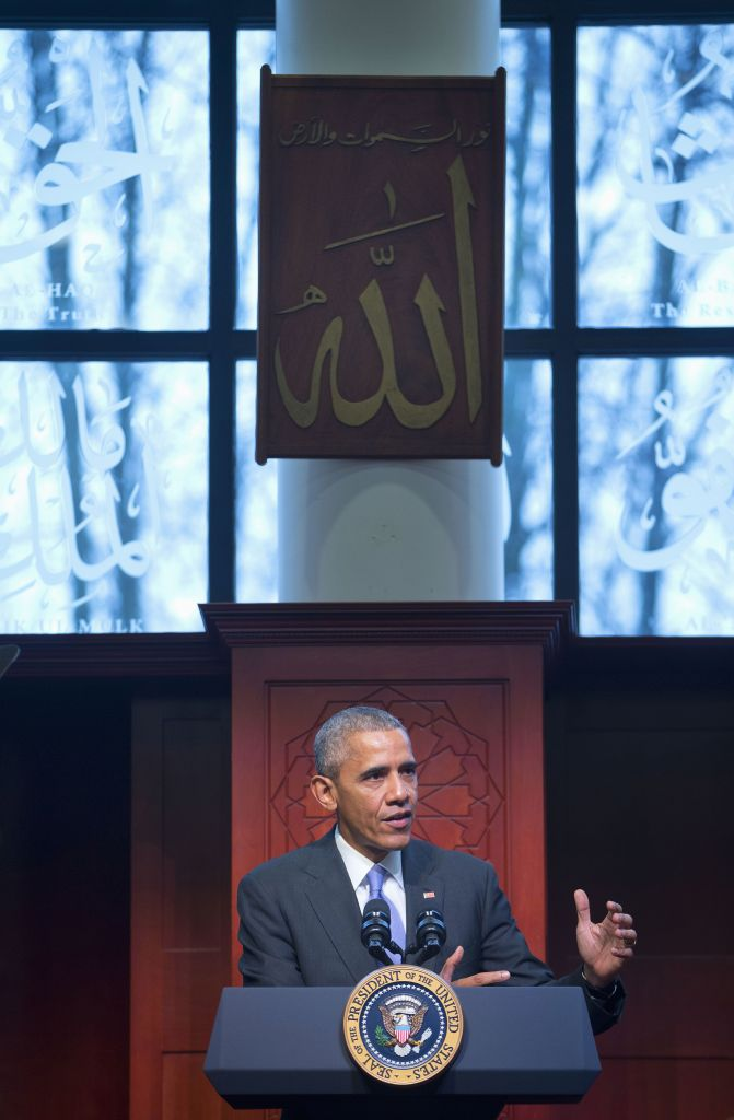 President Barack Obama speaks to members of the Muslim-American community at the Islamic Society of Baltimore, Wednesday, Feb. 3, 2016, in Baltimore, Md. Obama was making his first visit to a U.S. mosque at a time Muslim-Americans say they're confronting increasing levels of bias in speech and deeds. (AP Photo/Pablo Martinez Monsivais)