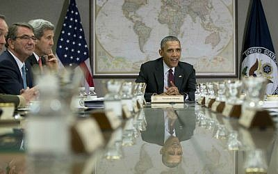 US President Barack Obama hosts a meeting of his National Security Council at the State Department in Washington, February 25, 2016. (AP/Carolyn Kaster)