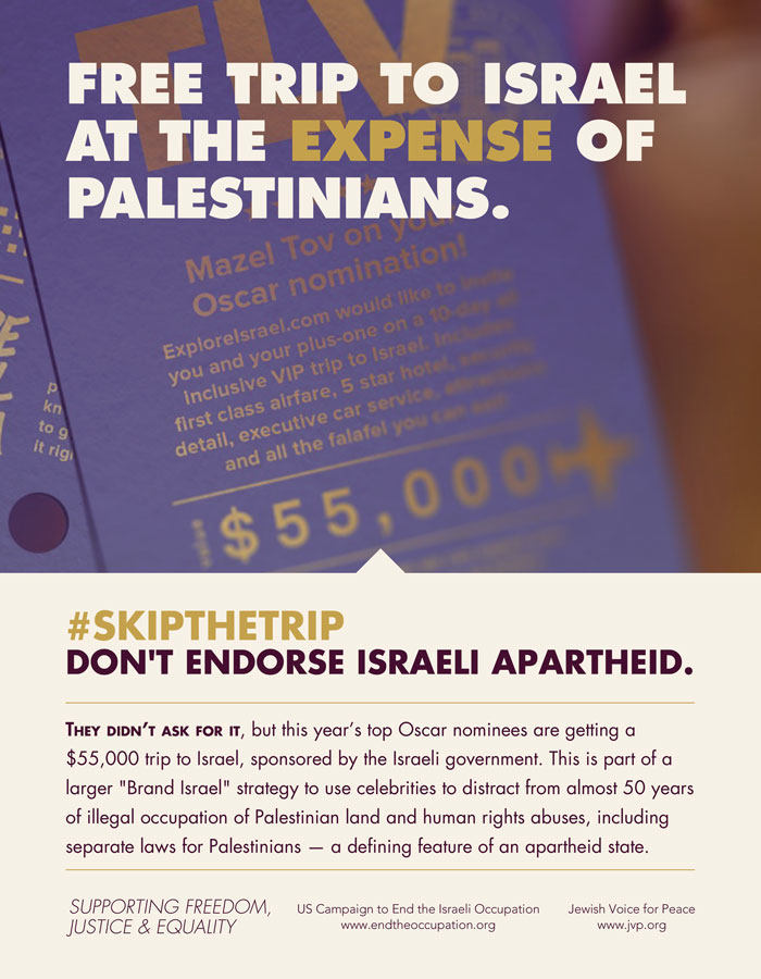 Jewish Voice for Peace and the US Campaign to End the Israeli Occupation attempted to run this advertisement in Variety, but the magazine refused. It did run in the LA Times. (Courtesy Jewish Voice for Peace)