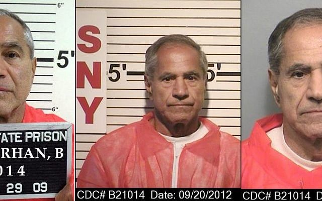 These composite photos provided by the California Department of Corrections and Rehabilitation show Sirhan Sirhan from left, in Oct. 29, 2009, Sept. 20, 2012, and Nov. 22, 2013. For nearly 50 years, Sirhan has been consistent: He says he doesn't remember fatally shooting Sen. Robert F. Kennedy in a crowded kitchen pantry of the Ambassador Hotel in Los Angeles. The Jerusalem native, now 71, has given no inkling that he will change his story at his 15th parole hearing set for Wednesday, Feb. 10, 2016, in San Diego. He is serving a life sentence that was commuted from death when the California Supreme Court briefly outlawed capital punishment in 1972. (California Department of Corrections and Rehabilitation via AP)