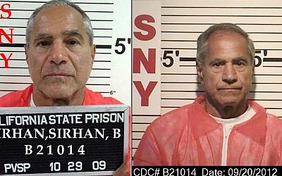 These composite photos provided by the California Department of Corrections and Rehabilitation show Sirhan Sirhan from left, in Oct. 29, 2009, and in  Sept. 20, 2012 (California Department of Corrections and Rehabilitation via AP)