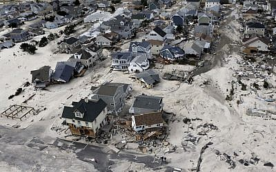 A view from the air shows the destroyed homes left in the wake of Superstorm Sandy in Ortley Beach, N.J. on October 31, 2012 (AP Photo/Mike Groll, File)