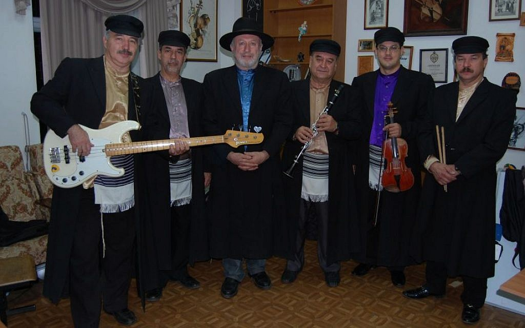 Eduard Tumansky, third from left, with fellow Simcha musicians, September 3, 2013. (Courtesy of Simcha)