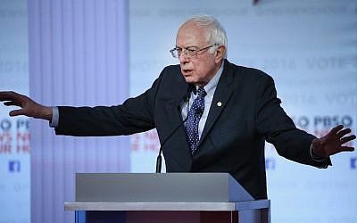 Bernie Sanders participating in the PBS NewsHour Democratic presidential candidate debate at the University of Wisconsin-Milwaukee, Feb. 11, 2016. (Win McNamee/Getty Images)