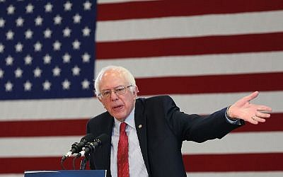 Democratic presidential candidate Sen. Bernie Sanders (D-VT) speaks at a town meeting at the Elmo High School gymnasium as he continues to campaign on February 19, 2016 in Elko, Nevada. (Joe Raedle/Getty Images)