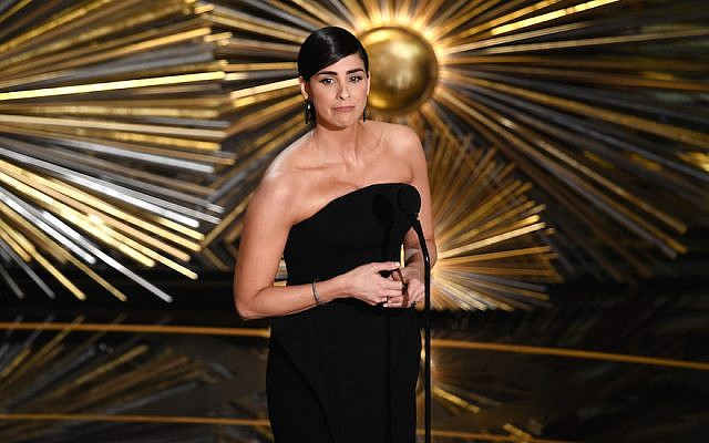 Actress Sarah Silverman speaks onstage during the 88th Annual Academy Awards in Hollywood, California, February 28, 2016. (Kevin Winter/Getty Images)