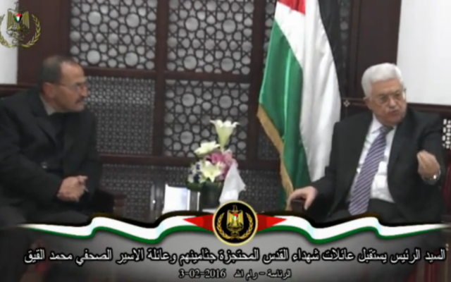 Palestinian Authority President Mahmoud Abbas meets with families of Palestinian terrorists in Ramallah on Wednesday, February 3, 2016. (screen capture: Ynet)