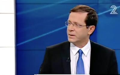 Zionist Union leader Isaac Herzog interviewed on February 6, 2016 (Channel 2 screenshot)
