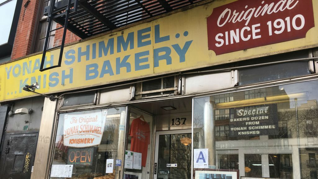 Yonah Schimmel's Knish Bakery is one of the few Jewish landmarks in New York's Lower East Side that endures. (Cathryn J. Prince/The Times of Israel)