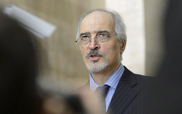 Syrian chief negotiator and the country's Ambassador to the UN Bashar Ja'afari speaks to the media after a round of negotiations between the Syrian government and the opposition at the European headquarters of the United Nations in Geneva, Switzerland, February 2, 2016. (Laurent Gillieron/Keystone via AP)