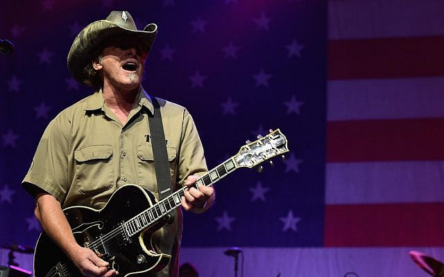 Ted Nugent performs at Charlie Daniels' 2015 Volunteer Jam at Bridgestone Arena on August 12, 2015 in Nashville, Tennessee.  (John Shearer/Getty Images for Webster Public Relations via JTA)