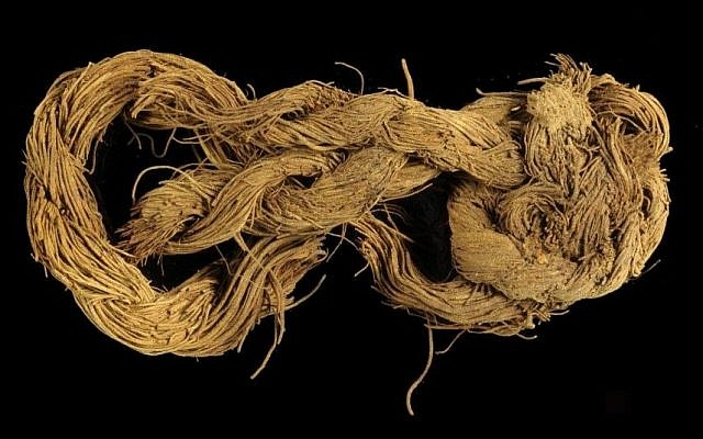 Rope made of the fibers of a date palm tree found at Site 34. (Clara Amit/Israel Antiquities Authority)