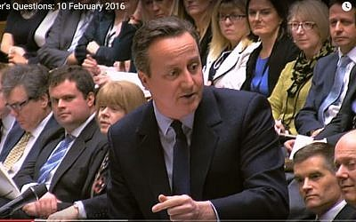 British Prime Minister David Cameron during PM's Question Time at the British Parliament. (Screen capture YouTube)