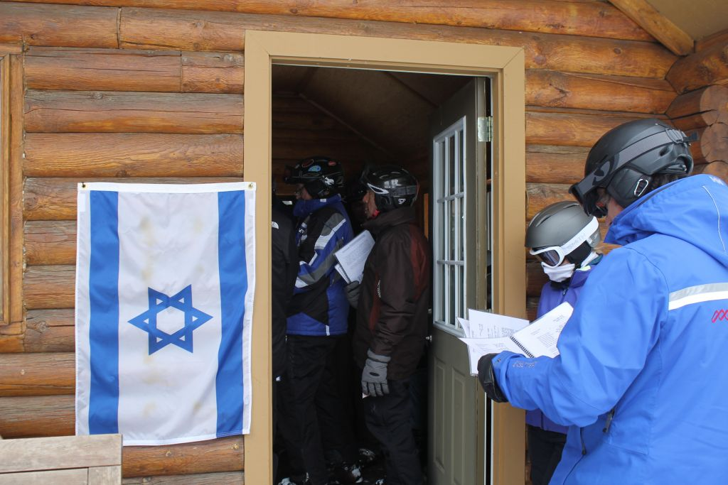 An Israeli flag is posted at Deer Valley's Sunset Cabin every Friday afternoon to alert skiers to the weekly Kabbalat Shabbat service. (Uriel Heilman/JTA)