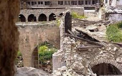 The Central Synagogue of Aleppo, which sustained minor damage in apparent shelling in an undated photo provided on February 10, 2016. (The Amaliah Organization)