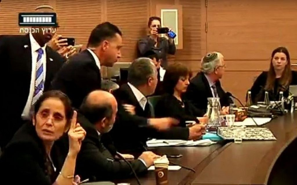 The Knesset's Constitution, Law and Justice Committee erupts in angry debate on February 29, 2016, and a Knesset security staffer prepares to eject MK Abdullah Abu Maaruf (Knesset channel screenshot)