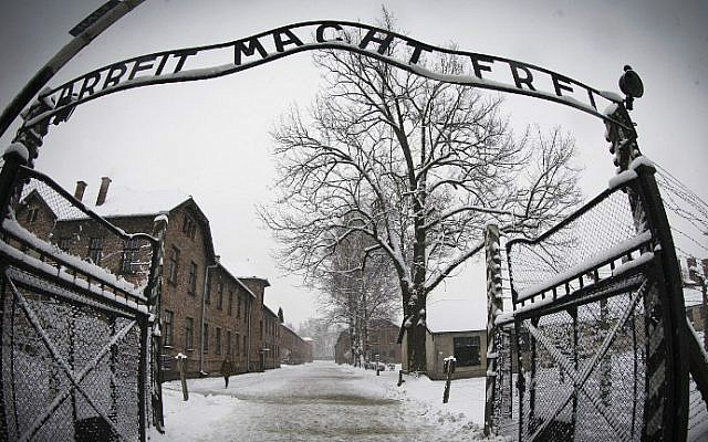 The entrance to the Nazi death camp Auschwitz-Birkenau with the lettering 'Arbeit macht frei' ('Work makes you free'). (Joel Saget/AFP)