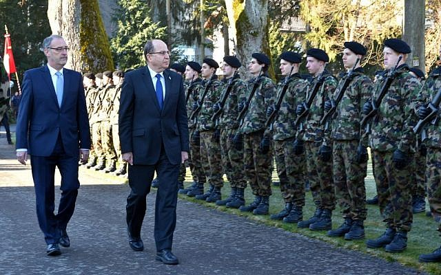 Defense Minister Moshe Ya'alon in Switzerland, February 11, 2016. (Ariel Hermoni/Defense Ministry)