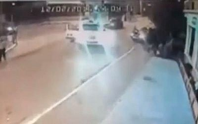 CCTV video footage showing the moment when two hit and run suspects managed to evade police due to a runaway cruiser on February 13, 2016.  (Facebook)