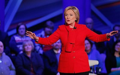 Democratic presidential candidate Hillary Clinton participating in a town hall forum at Drake University in Des Moines, Iowa, Jan. 25, 2016. (Justin Sullivan/Getty Images, via JTA)