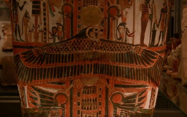 Egyptian coffins in the Fiztwilliam Museum collection (screen capture: YouTube)