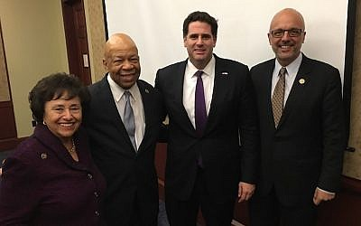 From left to right: Rep. Nita Lowey, D-NY, Rep. Elijah Cummings, D-Md., Israeli Ambassador Ron Dermer and Rep. Ted Deutch, D-Fla., marking Black History Month in the US Capitol building, Feb. 24, 2016. (Ron Kampeas via JTA)