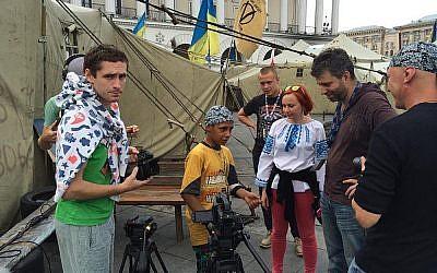 Evgeny Afineevsky, second from right, in Kiev's Maidan Square in 2013. (Courtesy of Evgeny Afineevsky)