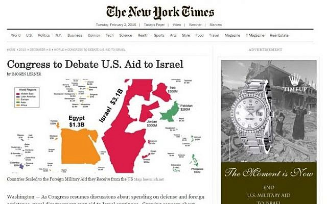 A screenshot of a fake, anti-Israel edition of the New York Times distributed in New York City on February 2, 2016.