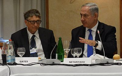 Prime Minister Benjamin Netanyahu site next to Bill Gates at the World Economic Forum in  Davos, Switzerland, January 23, 2014. (Kobi Gideon/GPO/Flash 90)