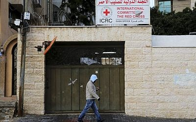 The office of the International Committee of the Red Cross that was temporarily closed after protesters repeatedly tried to storm it, in Gaza City, February 7, 2016. (AP/Adel Hana)