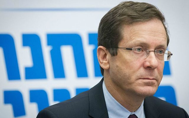 Isaac Herzog leads a Zionist Camp party meeting in the Israeli parliament on February 22, 2016. (Miriam Alster/FLASH90)
