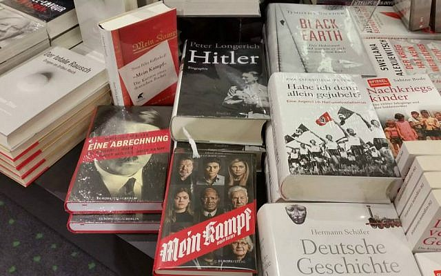 Books about Hitler and Nazism are prominently displayed a Berlin bookstore (Raphael Ahren/TOI)