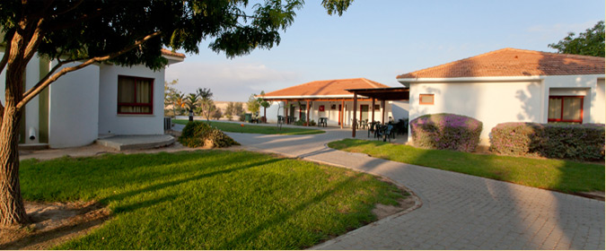 A view of the pastoral kibbutz guesthouse at Mashabim in the Negev, which frequently hosts Refanah guests (Courtesy Mashabim)