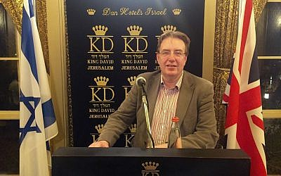 John Howell, Conservative MP for Henley and Vice President of the Conservative Friends of Israel at the King David Hotel in Jerusalem, February 18, 2016. (James Gurd)