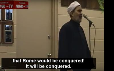 Imam Shaban Sherif Mady during a sermon in Alberta, Canada (YouTube screenshot)